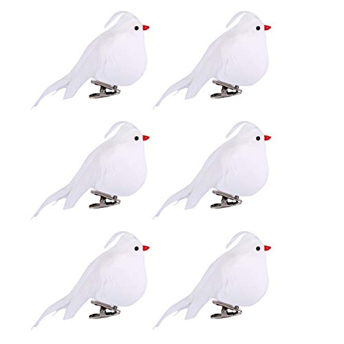 Alonsoo 6pcs Artificial White Bird Christmas Ornaments with Clip, White Bird Feather Craft Decoration for Christmas Tree