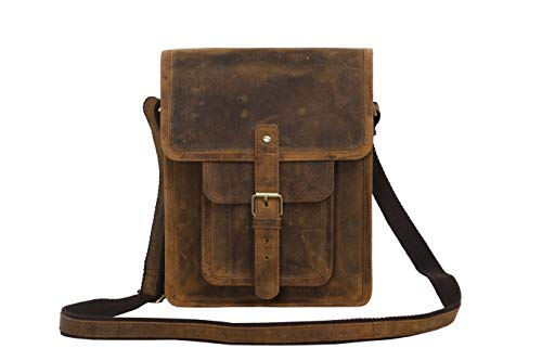 Komal's Passion Leather 11 Inch Sturdy Leather Ipad Messenger Satchel Bag (Distressed Tan Pocket)