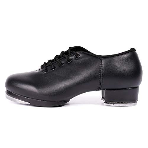 HROYL Niños & Niñas Zapatos Tap Zapatos Tap Dance Mujer Hombre TipTap Zapatos de Baile,TL5,Negro-3.5,EU29.5