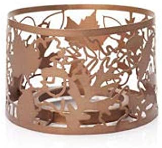 YANKEE CANDLE LINEAR LEAVES COPPER COLORED ILLUMA-LID JAR CANDLE TOPPER NEW
