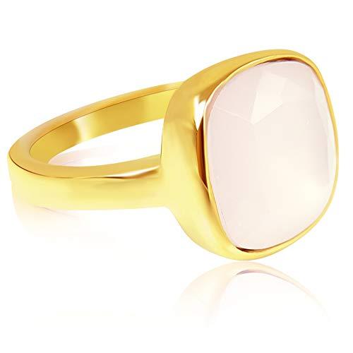 nobel-schmuck Damen-Ring Gold Rosa großer Kristall Cocktailring mit Stein Rose Water Opal