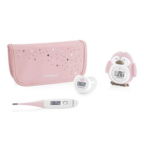 Miniland Thermokit - Set de 3 termómetros digitales de bebé, color rosa