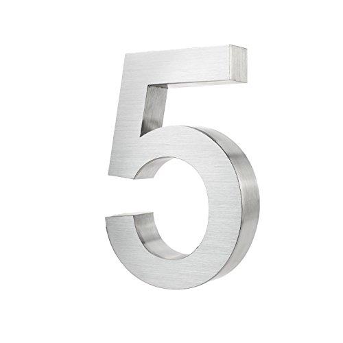 KOBERT GOODS Hochwertig Modern Gebürstet Edelstahl V2A Hausnummer 5 klassisch 3D-Effekt Design Wetterfest und Rostfrei inklusive Montage-Material Höhe 20cm Tiefe 3cm Groß für Haus und Gartenzaun