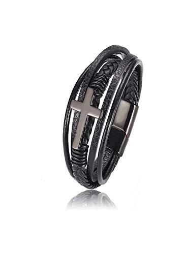 gujiu Charm bracelets Mens Stainless Steel Cross Bracelet,Magnetic Clasp Cuff Scripture Bracelet,Christian Bracelet for Men (Color : A)