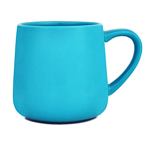 Bosmarlin Glossy Ceramic Coffee Mug, Tea Cup for Office and Home, 18 oz, Suitable for Dishwasher and Microwave, 1 Pack (Aquamarine)