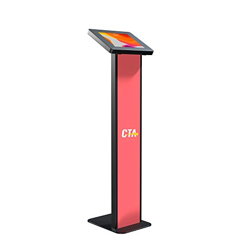 CTA Digital: Premium Locking Floor Stand Kiosk with Graphic Card Slot for 10.2-inch iPad 7th & 8th Gen & More, Black