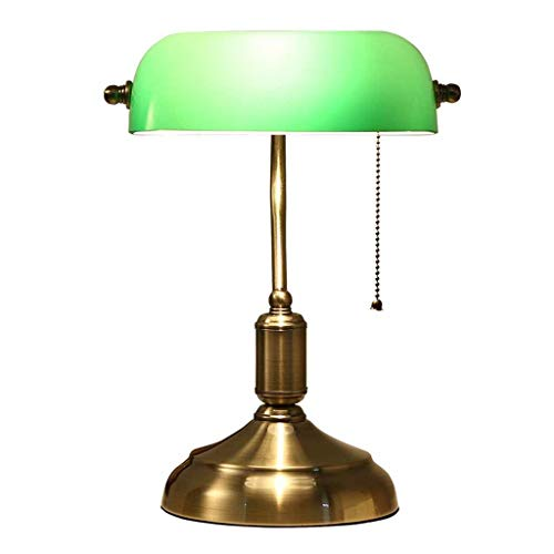 YYQIANG Elegant Vintage Small Table bureaulamp Eye-Caring nachtkastje bedlampje Light Chinese Ouderwetse Study licht met groene glazen kap for Office, 37cm (Size : Incandescent blub)