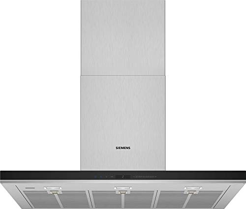 Hotte decorative murale Siemens LC91BUV50 - Hotte aspirante Box - largeur 90 cm - Débit d'air maximum (en m3/h) : 602 - Niveau sonore Décibel mini. / maxi. (en dBA) : - / 64