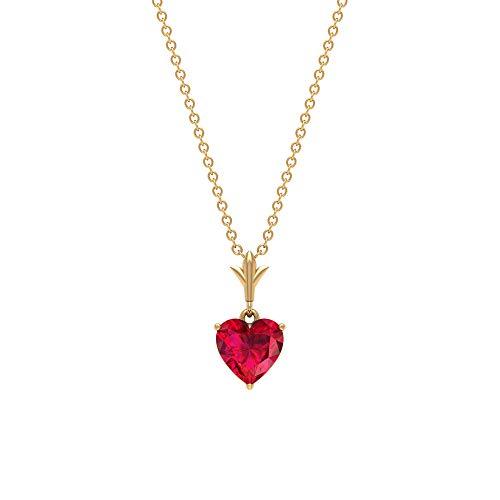 Rosec Jewels 10 quilates oro amarillo corazón Red Ruby