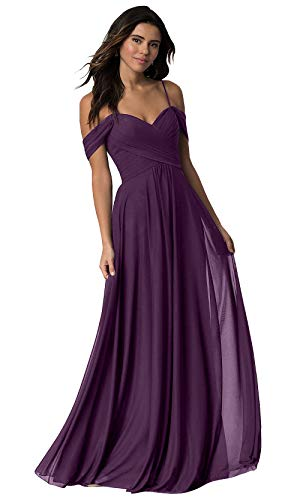 Women's Off The Shoulder A Line Chiffon Long Bridesmaid Dress Pleated Wedding Evening Party Dress Plum Size 16