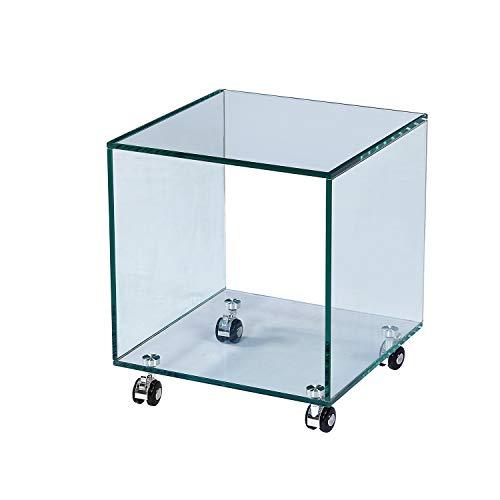 Arreditaly Tavolino Basso Quadrato Cubo in Vetro Temperato Curvato con Ruote Rotelle E Ripiano Salotto Soggiorno Sala da Pranzo Tavolo da caffè Design Luxury Z-93 Moderno Elegante 38 x 38 x 43 cm