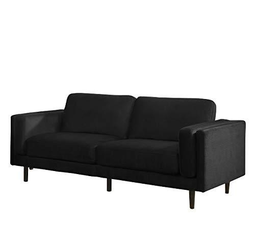 Sedex Neapel Designercouch/Polstergarnitur/Polstercouch/Couch 3-Sitzer Kunstleder schwarz