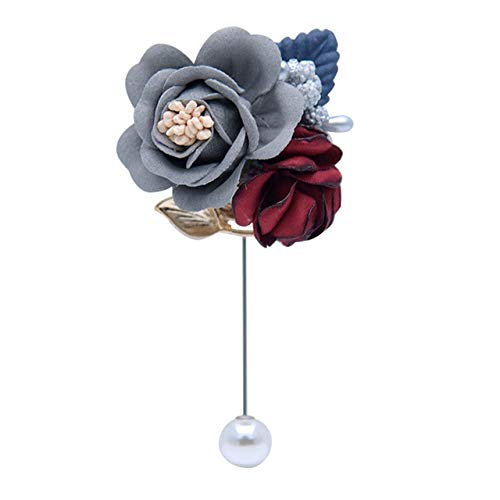 Women Men Cloth Art Fabric Flower Brooch Cardigan Shirt Shawl Professional Coat Badge Accessories-Grey