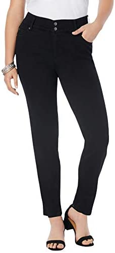 Roamans Women s Plus Size The Straight Leg Curvy Jean Made in USA Stretch Denim 24 W Black product image