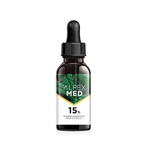ALPEX-MED 15 Prozent Premium Terpen und Hanfsamenöl. 10ml Essential Tropfen mit Zertifikat enthalten Omega Fettsäuren