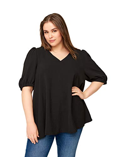Zizzi Damen Große Größen Bluse mit kurzen Puffärmeln und V Ausschnitt Gr 42-56