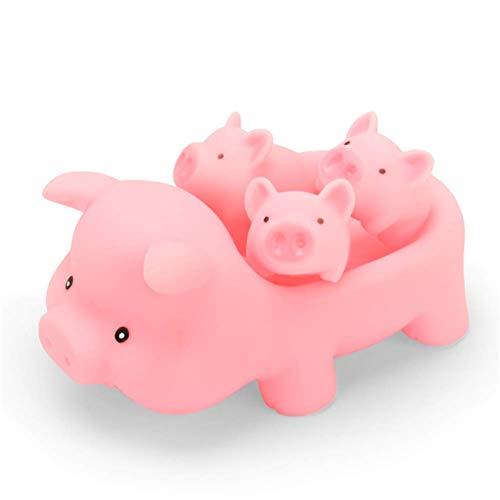 Molinter Gummiente Quietsche Taucher Quietscheente Schwein Baby Rosa BadeSchwein Bade für Baby Dusche Spielzeug 17.0 cm * 9.5 cm * 4.0 cm 4 Stück/Set