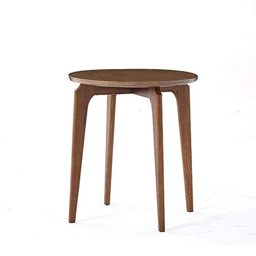 YUMEIGE-SIDE TABLE Small Coffee Table, Ash Round Side Table, Whole Body Polished, Walnut, Wood (Color : Walnut, Size : 19.68 * 19.68 * 22.04in)