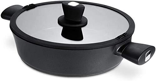 Poêle à frire à induction 28 cm / 4,5 l avec couvercle à herbe, cocotte avec double poignée, woks en fonte d'aluminium forgé de 6 mm et poêle à sauter
