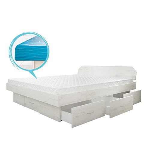 SONDERAKTION bellvita silverline Wasserbett mit Soft-Close Schubladensockel & Bettumrandung inkl. Lieferung & Aufbau durch Fachpersonal, 200cm x 200cm (samt Eiche)
