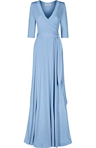 Bon Rosy Women's MadeInUSA 3/4 Sleeve Deep V-Neck Maxi Faux Wrap Dress Summer Wedding Guest Party Bridal Baby Shower Maternity Nursing Denim Blue L