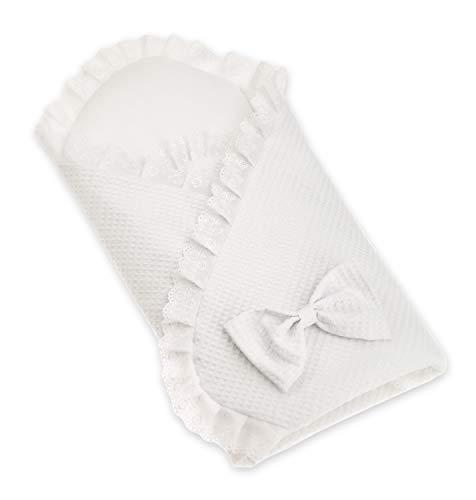 Lafel Taufdecke Babydecke Baumwolle 100% verziert mit einem zarten weißen Spitzenbatist