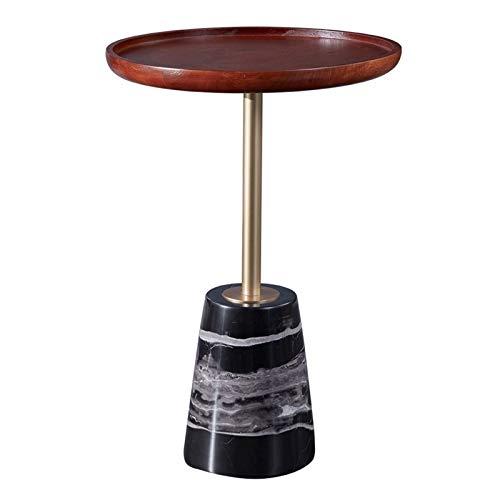 Mesitas de café pequeñas con mesa de madera y mesa auxiliar con base de mármol, para salón, recepción, sala y decoración del hogar (color: negro)