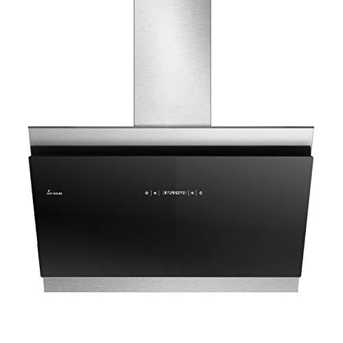 KKT KOLBE/Kopffreie Wandhaube/Dunstabzugshaube / 90cm / Edelstahl/schwarzes Glas/WLAN/Nachlaufautomatik/RGBW-LED-Beleuchtung/SensorTouch Bedienung / BICOLORE907SM