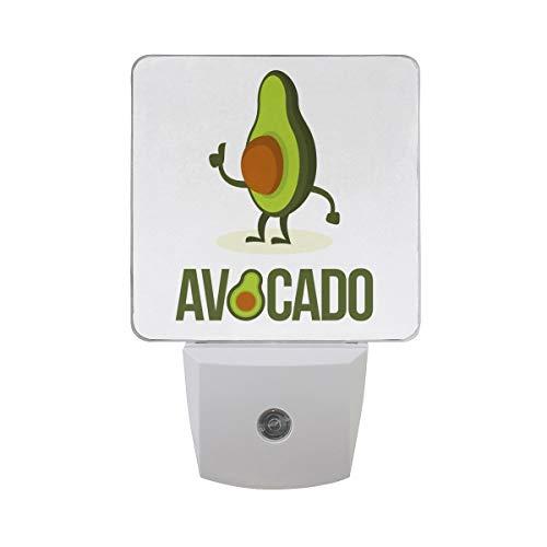 AOTISO Icono Logotipo Aguacate Personaje Dibujos Animados Sensor Automático Luz Nocturna Enchufe Interior