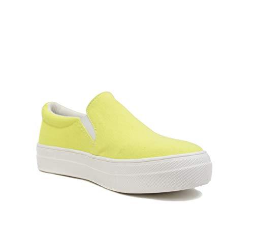Soda TOPSHOE ave- Hike Platform Slip- On Sneaker w/Cushion Foam (11 M US,neon Yellow)
