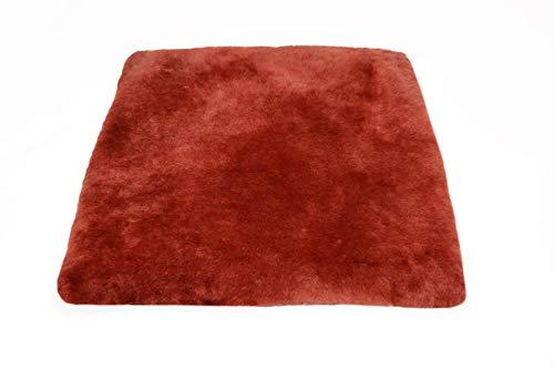 Cojín para sentarse piel de cordero EL LUJO rojo (Manta para la silla de ruedas / Cama...