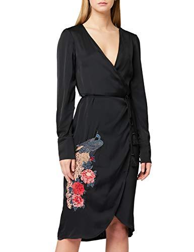 Marchio Amazon - TRUTH & FABLE Vestito a Portafoglio Satinato Donna, Nero (Black Black), 46, Label:...