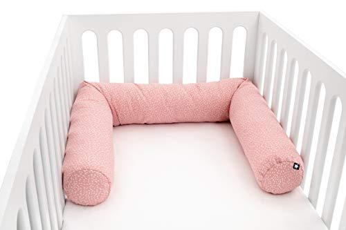 Julius Zöllner 8281069250 Nestchenschlange für Babybett , 180 cm Durchmesser 14 cm, Jersey-Baumwolle, Standard 100 by OEKO-Tex, Tiny Squares Blush, rosa