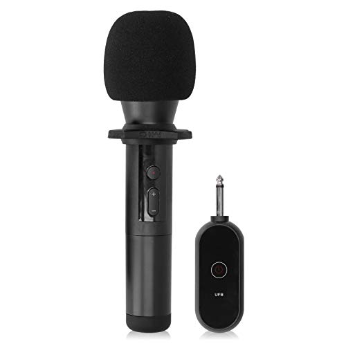 Goshyda Micrófono inalámbrico antiinterferencias para Exteriores de 20 Canales, micrófono de Altavoz Multiusos, guía de enseñanza, micrófono UF8(Negro)