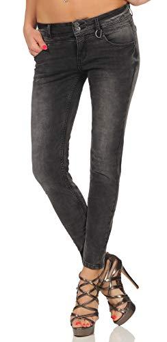 Sublevel Damen Slim-Fit Jeans Hose LSL-358 Skinny Röhre im Used-Look Grey Denim L