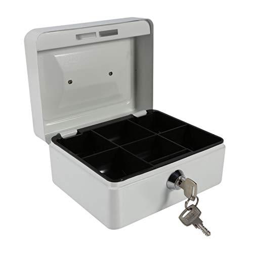 Mini caja de seguridad de material de acero Caja de seguridad de diseño de 6 compartimentos, para almacenamiento de efectivo adicional(Small white)