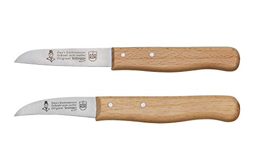 RÖR Omas Schäl-/Küchenmesser 2-teilig Gußstahl Buchenholzgriff Made in Solingen