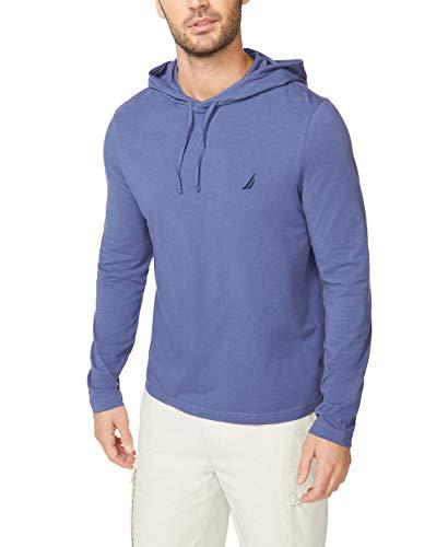 Nautica Men's Long Sleeve Pullover Hoodie Sweatshirt, Blue Indigo, Large