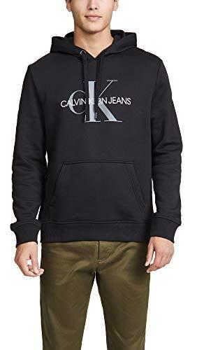 Calvin Klein Men's Fleece Hoodie Logo Pop Over Sweatshirt, Black, X-Large