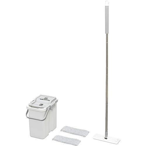 アイリスオーヤマ フロアモップ ホワイト (モップ部本体):幅約26×奥行約10×高さ約126.5㎝ フラットモップ FLMO-130