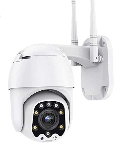 PTZ Camara Vigilancia con App Alarma, Visión Nocturna, Audio de Dos Vías, Detección de Movimiento, Camara WiFi Exterior 355° Pan/90° Tilt