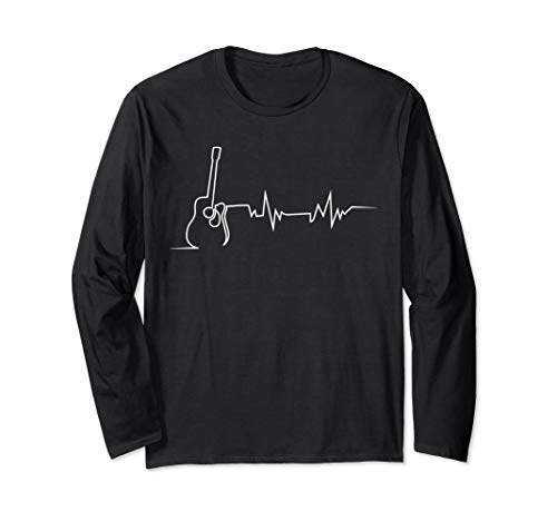 Acoustic Guitar Heartbeat Long Sleeve T-shirt for Guitarists