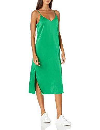 The Drop Women's Ana Silky V-Neck Midi Slip Dress, Emerald, XS