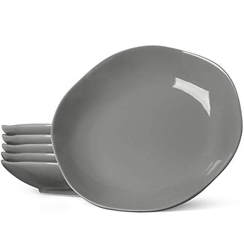 LE TAUCI Ceramic Dinner Plates, 10 Inch Pasta Plates Set for Pasta, Risotto, Fluffiest Pancakes, 22 Ounce - Set of 6,GREY