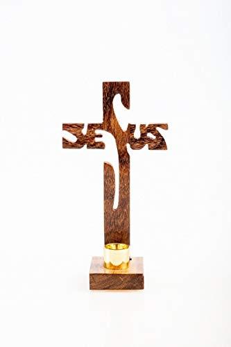 Stehkreuz Jesus in Holz 19 cm mit Kerzenhalter