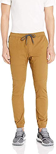 BROOKLYN ATHLETICS Men's Casual Regular Fit Soft Twill Jogger Pants, Tobacco 20, Large