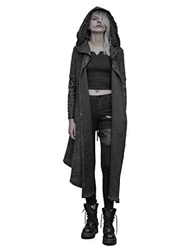Punk Rave Damen Schwarz Gothic Strickjacke Pullover Unregelmäßiger Mantel mit Kapuze XS