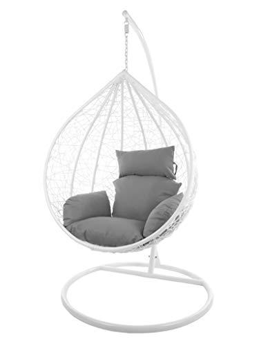 Kideo Komplettset: großer Hängesessel mit Gestell & Kissen, XXL Größe, Indoor & Outdoor, Poly-Rattan, (Korb & Gestell: weiß, Kissen: grau Nest (8010_Cloud))