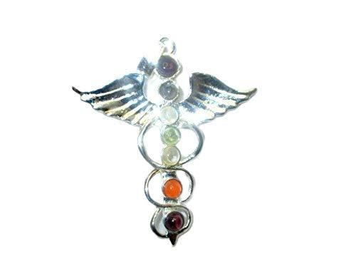 Jet International ala Caduceo Colgante de Chakra de Metal Folleto Gratuito Terapia de Cristal 2 Pulgadas Aprox.A ++ Imagen de Chakra India...