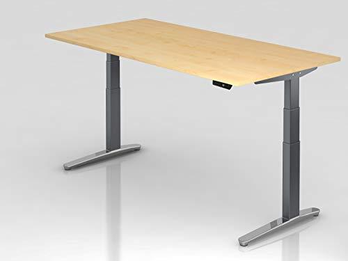 Sitz-Steh-Schreibtisch EL.200x100cm Ahorn/Gra